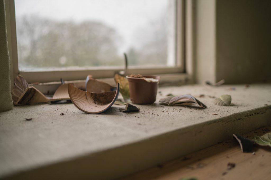 pots, broken, gardening, garden, home, broken things