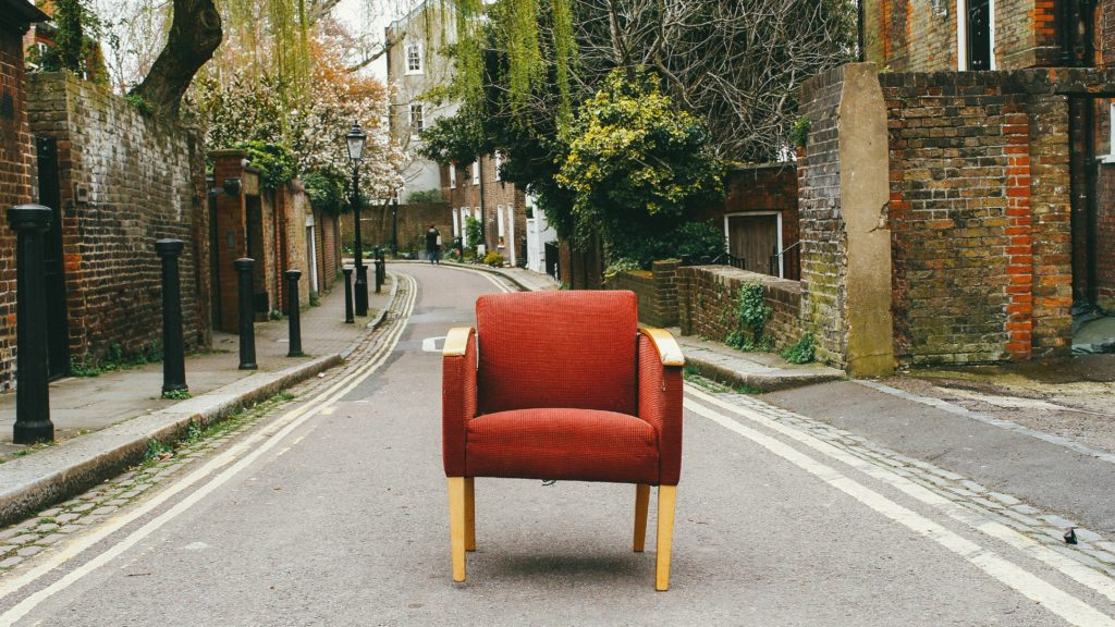 red, chair, decorating