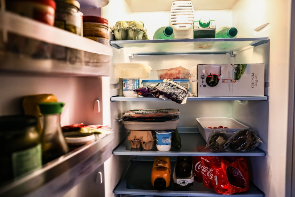 fridge, food, open fridge